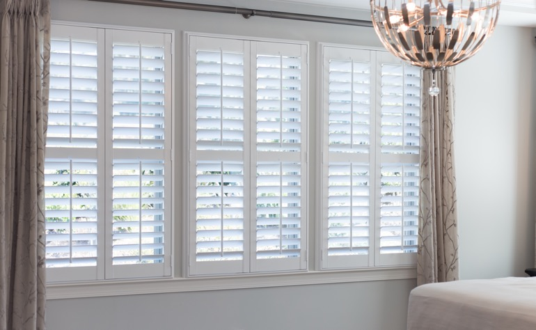 St. George plantation shutters bedroom
