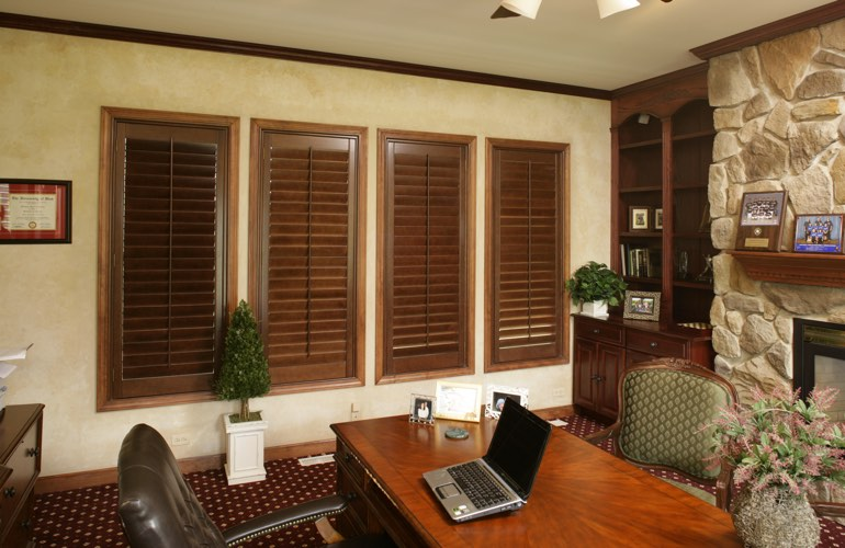 Hardwood plantation shutters in a St. George home office