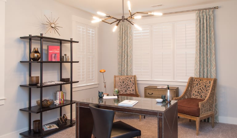 St. George home office with plantation shutters.