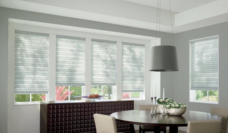 Cellular shades in a St. George dining room.