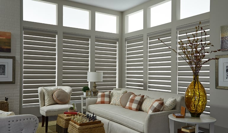 Motorized shades in a St. George living room.
