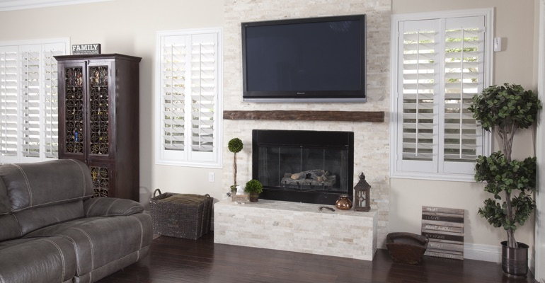 interior shutters in St. George living room