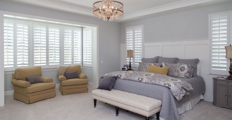 Plantation shutters in St. George bedroom.