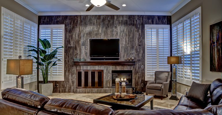 St. George living room with shutters