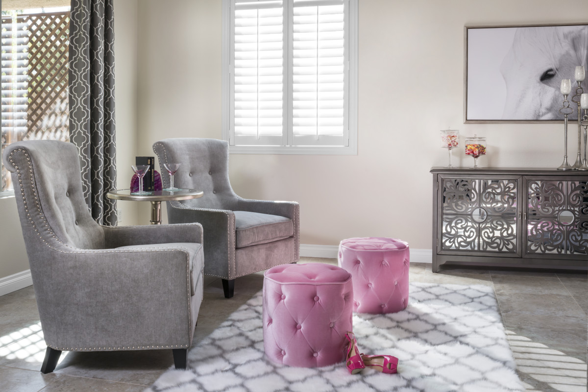 St. George pink living room with shutters