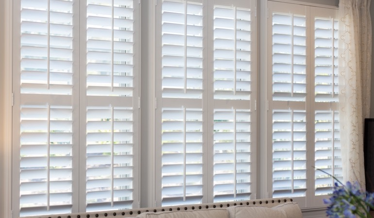 Faux wood plantation shutters in St. George