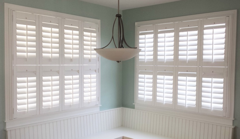 St. George white shutters in dining room