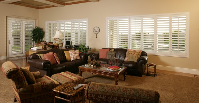 St. George basement with polywood shutters.