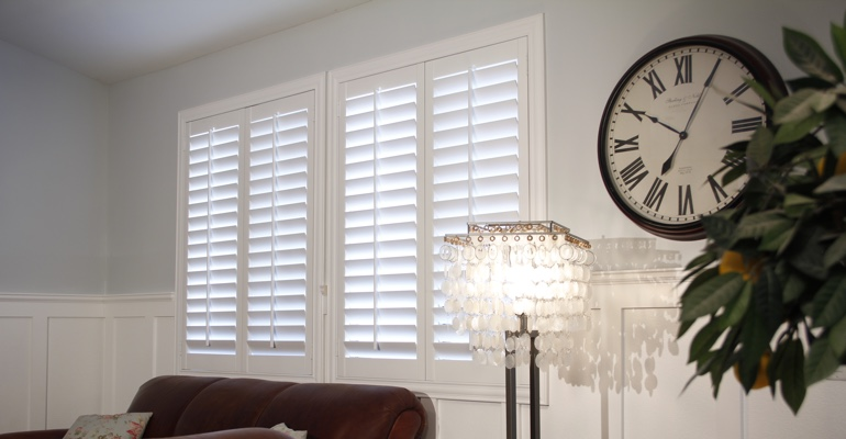 St. George living room white shutters
