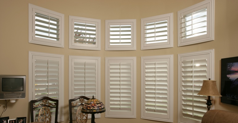 Bay window shutters St. George home office
