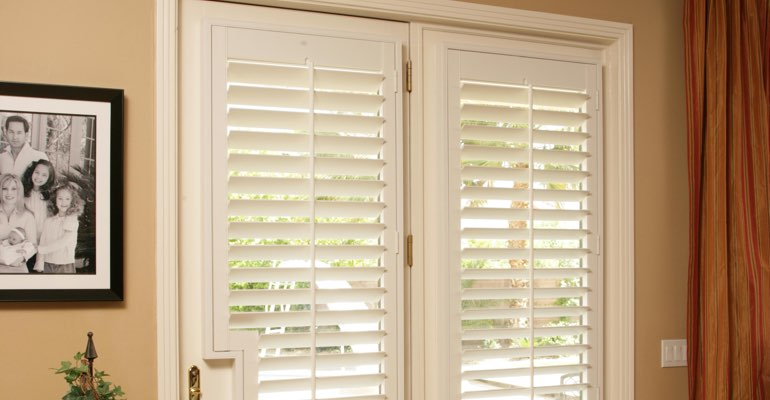 St. George french door white shutters