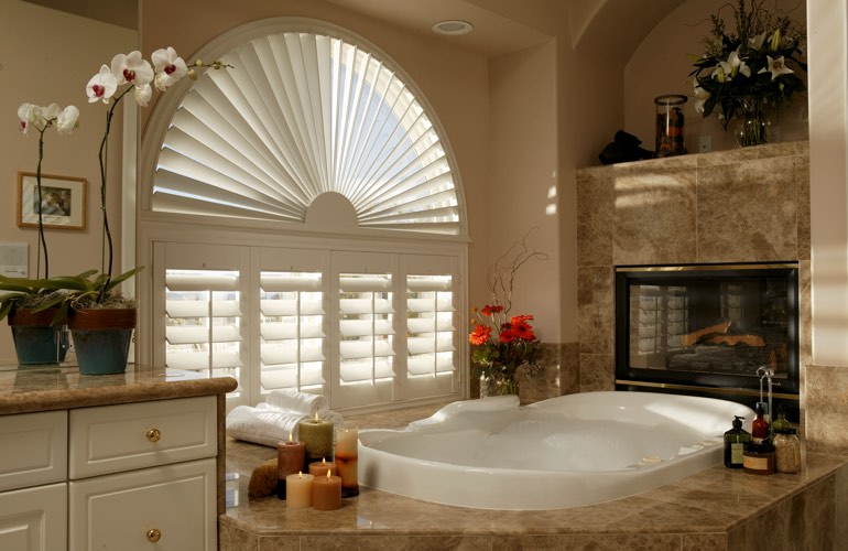 Our Professionals Installed Shutters On A Sunburst Arch Window In St. George, UT